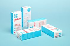 Drip Drop rehydration drink - Packaging Design - Brand identity, 1960s, Pharmaceutical, Bright, Clean, White, Red, Blue