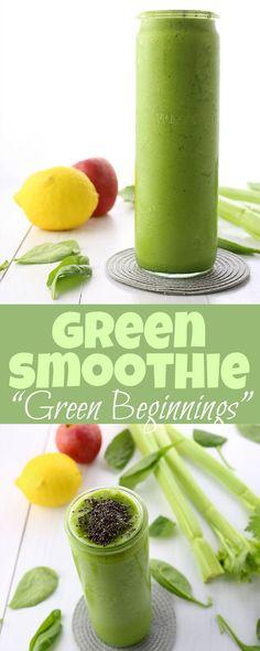 Smoothie Recipe: Green Beginnings Green Smoothie Recipes, Yummy Smoothies, Fat Burner Smoothie, Best Post Workout, Almond Recipes, Vegan Vegetarian, Smoothie Powder, Avocado, Nutrition