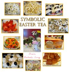 This Easter tea has symbolic foods for all the occurrences in the Bible that happen from the finding of the empty tomb through Pentecost. Very cool!