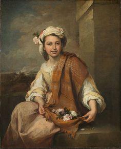 The Flower Girl (or Flower Seller) - Bartolome Esteban Murillo.  1665-70.  Oil on canvas.  120.7 x 98.3 cm.  Dulwich Picture Gallery, London, UK.