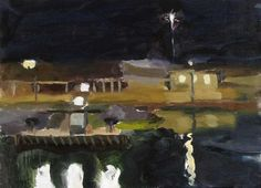 Annabel Gault: Harbour, Night II Campden Gallery, Watercolor Portraits, Watercolor Art, Abstract Landscape, Abstract Art, Seascape Paintings, Nocturne, Ceramic Art, Photo Art, Night Scenes