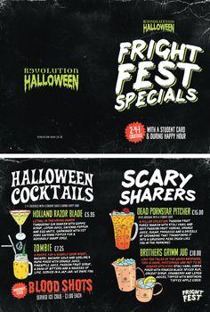 Halloween Drinks Menu, Scary Cocktail Specials Menu for Vodka Revs by www.diagramdesign.co.uk