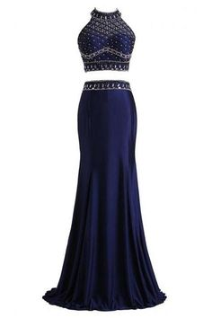 Blue Two Piece Floor Length Trumpet Prom Dress Featuring Beaded Embellished Halter Bodice with High Neckline and Open Back