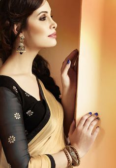 black lace on beige saree blouse - Google Search