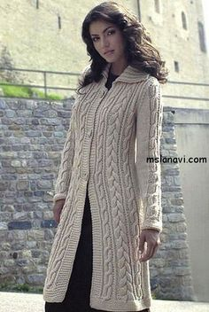 Пальто с косами/ Cream knitted cable long coat Crochet Coat, Knitted Coat, Crochet Jacket, Knit Jacket, Knit Cardigan, Girl Dress Patterns, Coat Patterns, Blouse Patterns, Clothing Patterns