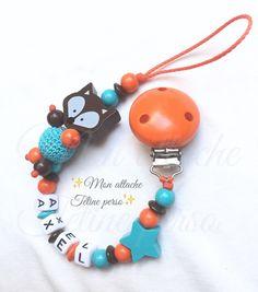 attache tétine personnalisée perles en bois ~ modèle renard chocolat orange