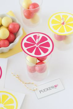 Really cute idea for fun party favors! Lemonade-themed straws, toppers, and flavored gum-balls.