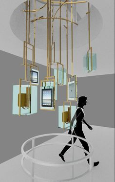 """Burberry Chandelier by Asylum Models and Effects,""""a 16ft digital chandelier,which showcases products and campaign content over multiple iPad screens"""",pinned by Ton van der Veer"""
