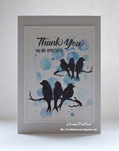 InvisiblePinkCards: Handmade thank you card using STAMPlorations stamps, dies and stencils with Distress Inks