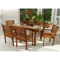 International Home Amazonia 7-Piece Brown Eucalyptus Dining Patio Dining Set Bt Rect Set