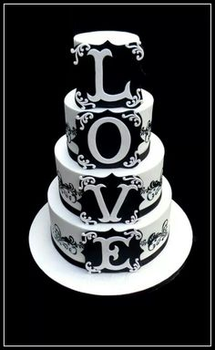 Stunning black and white cake