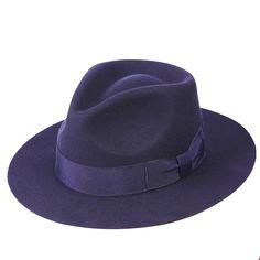 Classic Deep Blue  Wool   Men's Fur Felt Fedora Hat Gangsters  Hipsters