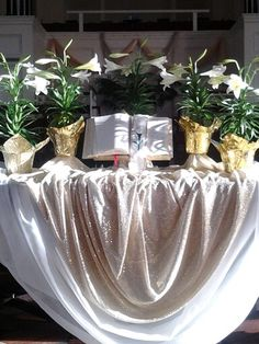 Altar Table The fabric and the draping of it is just exquisite, don't you think?