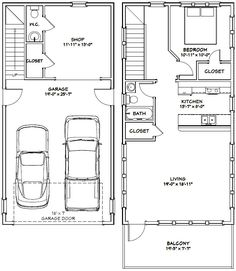 Attirant 20 X 40   1 Bedroom, 1.5 Bath Home With 2 Car Garage. It. Garage Apartment  PlansGarage ...
