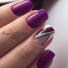 Sweet purple gel nails with some glitter - nails Purple Gel Nails, Purple Nail Art, Glitter French Manicure, Glitter Nails, Stylish Nails, Trendy Nails, Hair And Nails, My Nails, Nagel Gel