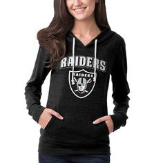Oakland Raiders 5th   Ocean by New Era Women s Tri-Blend Hooded Long Sleeve  T-Shirt - Charcoal 8ff94d834