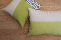 chartreuse green and grey pillow cover // color block pillow by FightingforJoy