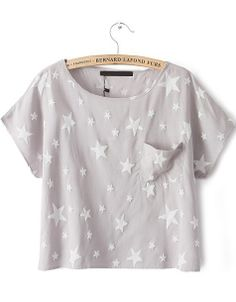 Light Grey Short Sleeve Stars Print Pocket T-Shirt US$22.03