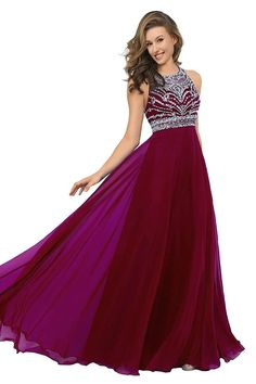 (This is an affiliate pin) Pearldress Long Chiffon Beading Evening Dress Keyhole Back Prom Dress