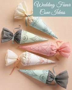 DIY Wedding favor cone ideas. Use these pretty cones to put rice, seeds, or your…