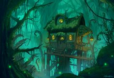Swamp Cottage by Zanariya forest jungle tree house landscape location environment architecture   Create your own roleplaying game material w/ RPG Bard: www.rpgbard.com   Writing inspiration for Dungeons and Dragons DND D&D Pathfinder PFRPG Warhammer 40k Star Wars Shadowrun Call of Cthulhu Lord of the Rings LoTR + d20 fantasy science fiction scifi horror design   Not our art: click artwork for source