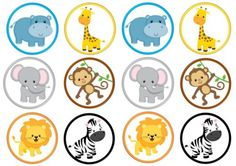 12-Jungle-Edible-Rice-Wafer-Paper-Cake-Cupcake-Toppers