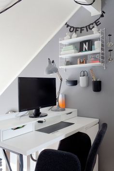 Grey walls home office.
