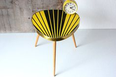 Plant stand, small coffee table, flower stool, tripod, bedside / side table, nightstand, Mid Century, black yellow stripes, gift, 50s 60s  [Love this!]