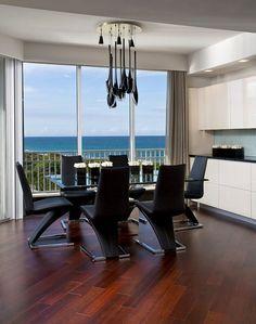 apartment with sea view interior design simple dining area furniture dark wood laminate