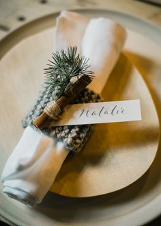 Winter Place Setting - Stylish Winter Wedding Inspiration With Firs Foliage & A Muted Colour Palette Styling by Blue Wren Barn Images by John Barwood Photography