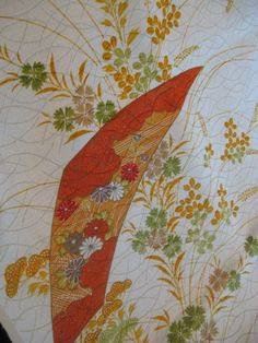 Elegant floral Japanese kimono damask fabric  14x46 by KIMONOCARDS, $10.00