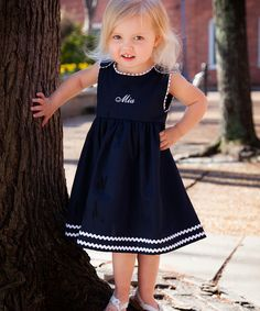 Princess Linens Navy & White Personalized Jumper - Infant, Toddler & Girls | zulily