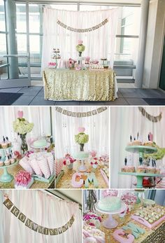 **SHEER CURTAIN PANELS**Bridal shower decor- i love the glitter table cloth- would have to be silver of coarse!
