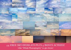 44 Sky Overlays and 4 Bonus Helper Actions Photoshop Elements Actions, Photoshop Overlays, Free Photoshop, Photoshop Brushes, Free Photography, Photoshop Photography, Photography Tutorials, Photography Business, Photography Photos
