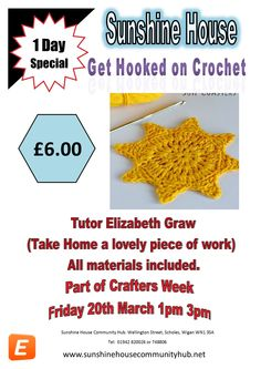 Friday 1pm 3pm 20th March as part of our crafting week Elizabeth Graw will be teaching crochet...  All materials found £6.00.