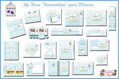 """Convites Digitais Simples: Kit Personalizado Tema """"Passarinhos"""" para Menino"""
