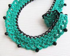 Green black crocheted collar necklace choker van LadyLina op Etsy, $40.00