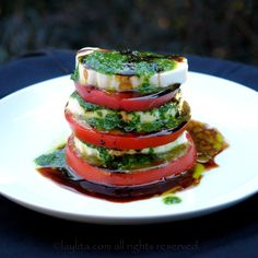 """This Italian mozzarella caprese salad """"insalata caprese"""" is one of the recipes combining the finest flavors and naturally bright and appetizing colors. It is made with balsamic vinegar and olive oil mixed with basil and garlic. Tomato Mozzarella Caprese, Fresh Mozzarella, Salade Caprese, Homemade Cookbook, Italian Salad Recipes, Italian Appetizers, Cold Appetizers, Food Presentation, Soup And Salad"""