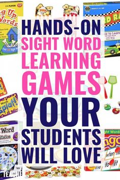 These fun sight word games are perfect for kindergarten or for first grade, second, 3rd and beyond. My students love these hands on board games and card games that cover both dolch and fry sight words! Teaching Sight Words, Sight Word Practice, Sight Word Games, Sight Word Activities, Phonics Activities, Comprehension Activities, Reading Activities, Reading Fluency, Reading Intervention