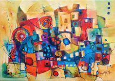 """Pintura Abstracta . Título . HOLI """"Colores Del Tiempo Tecnica Mixta Autor. Mónica Renedo"""