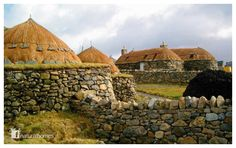 These are the black houses of Garenin on the Isle of Lewis, Scotland.