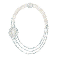 "Chanel – Les Perles de Chanel – ""Pluie de Camélia"" necklace in white gold set with 49 baguette-cut diamonds with a total weight of 14.8 carats, 592 brilliant-cut diamonds with a total weight of 11.9 carats, 1 cultured South Sea pearl 14.5mm in diameter and 244 cultured Japanese pearls."