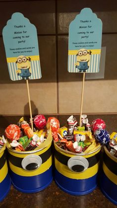 Recycled formula cans, Minion centerpieces