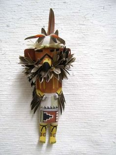 Old Style Hopi Carved Red Tail Hawk Traditional Guard Katsina Doll