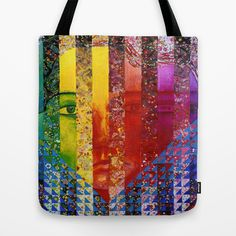 Conundrum I - Abstract Rainbow Goddess Tote Bag by Diane Clancy's Art - $22.00