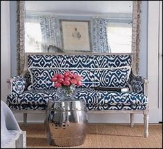 Ikat couch with full length pillow…more couch inspo