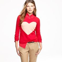 Party Sale! New Listing! J Crew Heart Sweater J Crew heart crew neck sweater. Sold out! Adorable merino wool with ribbed neck and cuffs. Bright orange with peach color heart. Bundle & Save $$ J. Crew Sweaters Crew & Scoop Necks