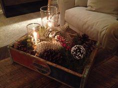 My Christmas coffee table decor #christmasdecor #pinecones #christmas