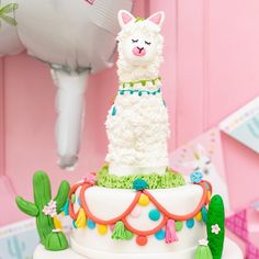 The Party Dot added a new photo. 12th Birthday Cake, Llama Birthday, 9th Birthday Parties, Birthday Cake Girls, Happy Birthday, Birthday Cake Decorating, Birthday Party Decorations, Cupcakes Wallpaper, Flamingo