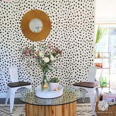 Animal Print Cheetah Leapord Spots Floor Stencils on Painted Patterned Floor - Royal Design Studio